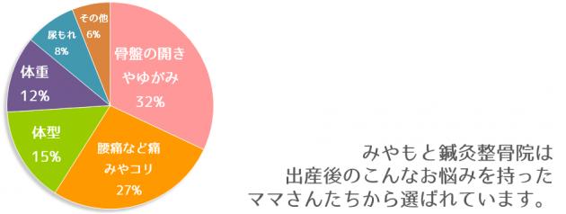 産後骨盤矯正患者様のお悩みのアンケート結果の円グラフ。1位:骨盤の開きやゆがみ32%。2位:腰痛などの痛みやコリ27%。3位:体型15%。4位:体重12%。5位:尿もれ8%。6位:その他6%。