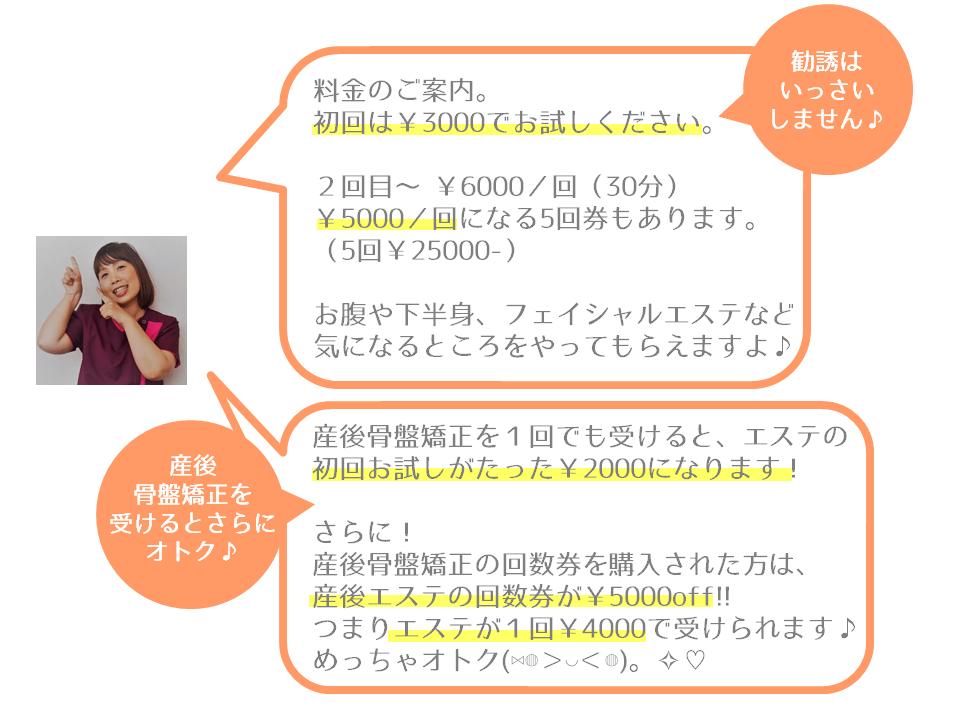料金のご案内。 初回は¥3000でお試しください。 2回目~ ¥6000/回(30分) ¥5000/回になる5回券もあります。 (5回¥25000-) お腹や下半身、フェイシャルエステなど 気になるところをやってもらえますよ。勧誘はいっさいしません。産後骨盤矯正を受けるとさらにオトク。産後骨盤矯正を1回でも受けると、エステの 初回お試しがたった¥2000になります! さらに! 産後骨盤矯正の回数券を購入された方は、 産後エステの回数券が¥5000off!! つまりエステが1回¥4000で受けられます♪ めっちゃオトク。